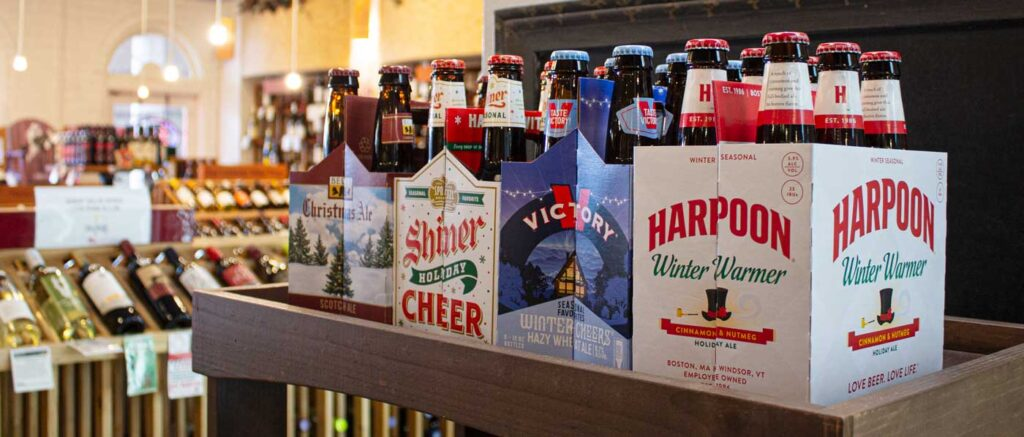 display of holiday craft beer selections