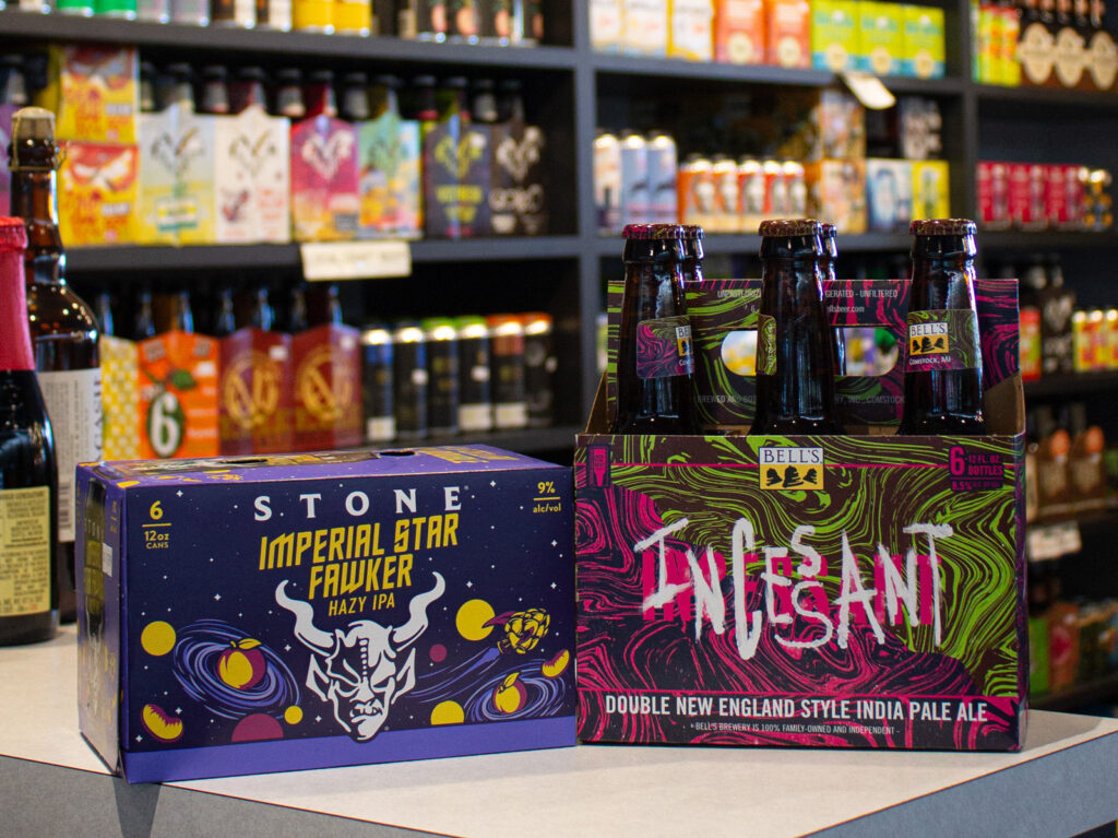 photo of 6 pack of cans of stone imperial star fawker and bells incessant